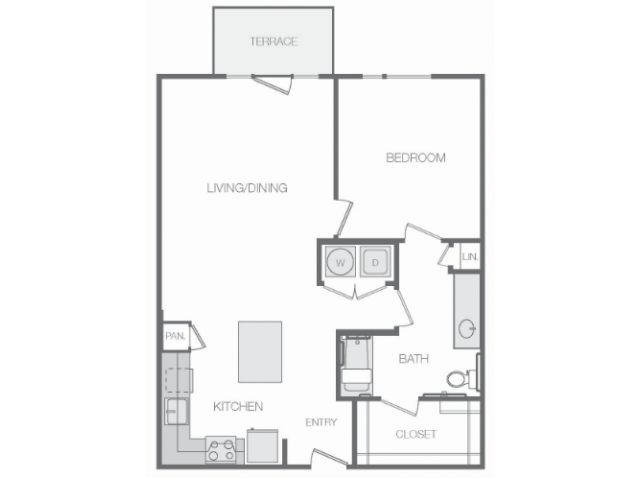 871 sq. ft. 80% floor plan