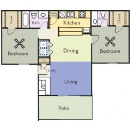 958 sq. ft. B2C/HICKORY floor plan