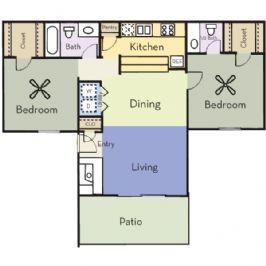 958 sq. ft. B2C/HICKORY floor plan