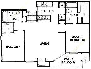 1,042 sq. ft. B9 floor plan