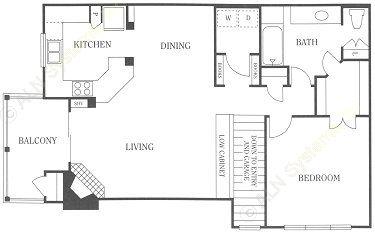 992 sq. ft. 1A floor plan