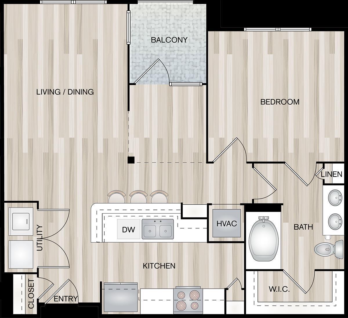888 sq. ft. A5-Headway floor plan