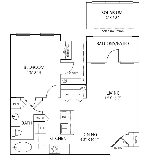 771 sq. ft. to 845 sq. ft. CANNES floor plan
