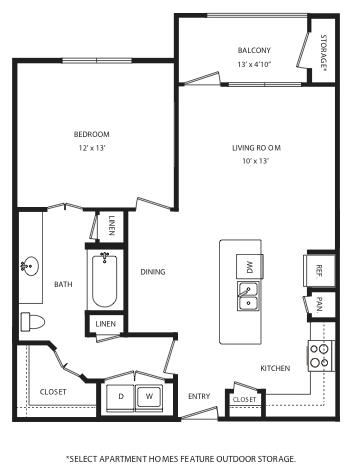 790 sq. ft. A9 floor plan