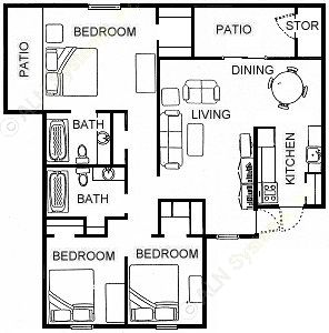 1,650 sq. ft. C3 floor plan