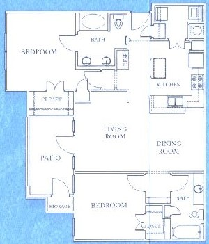 1,244 sq. ft. B3 floor plan