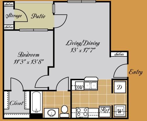 655 sq. ft. AMADORA floor plan