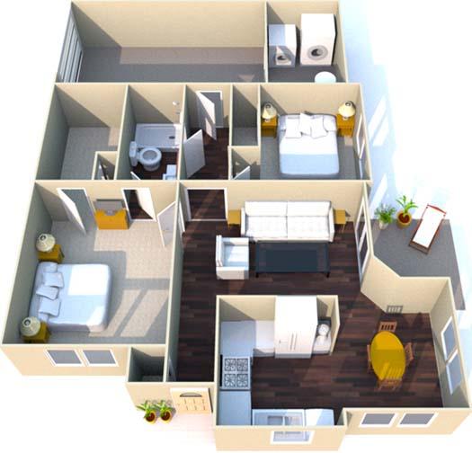 946 sq. ft. D floor plan