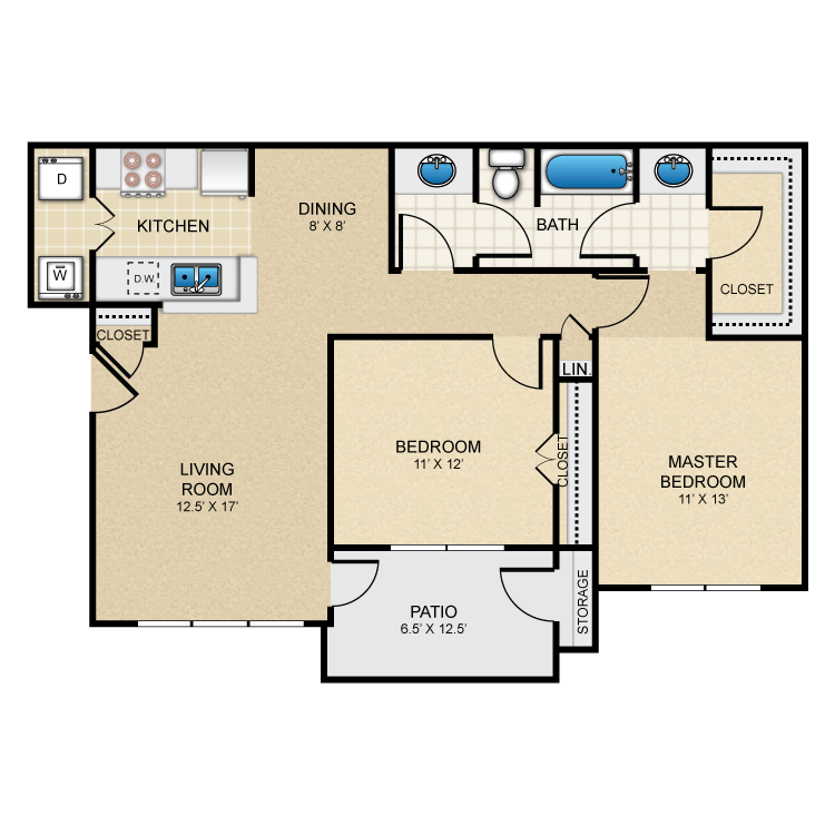 999 sq. ft. Wimberly floor plan