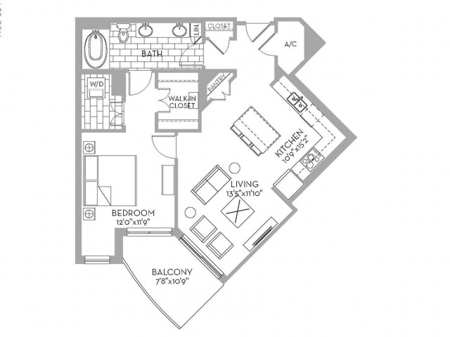 860 sq. ft. Royal(A.12) floor plan