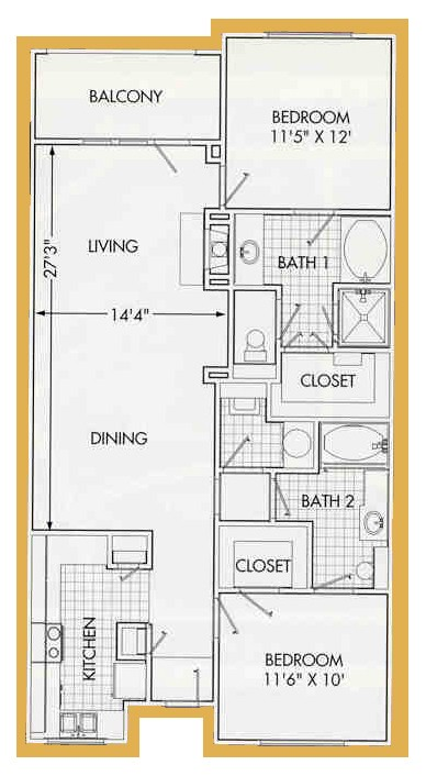 1,176 sq. ft. B5 floor plan