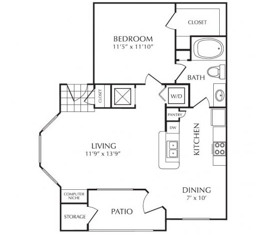 709 sq. ft. floor plan