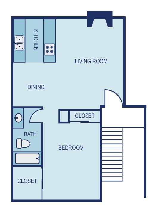 706 sq. ft. A1 floor plan