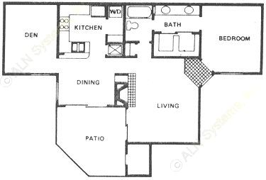 975 sq. ft. A6 floor plan