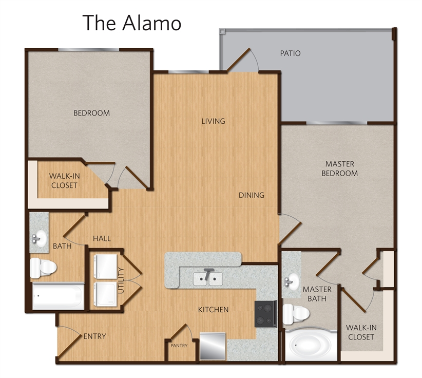 998 sq. ft. Alamo B2 floor plan