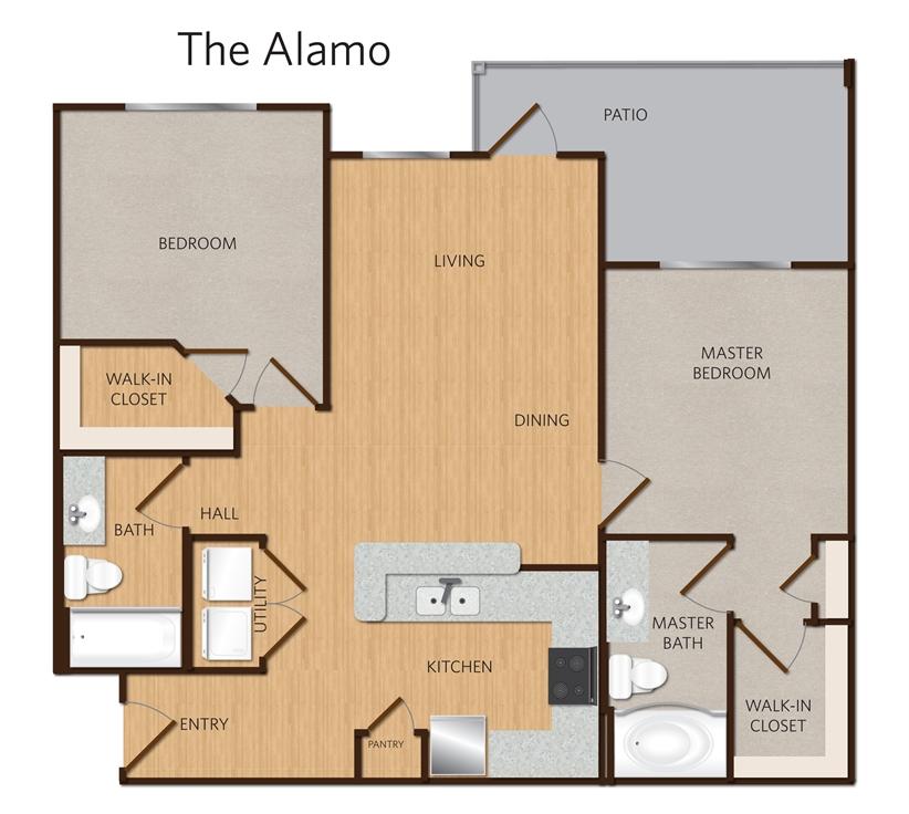 998 sq. ft. Alamo B2 floor plan