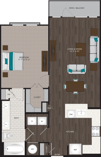 839 sq. ft. A5 floor plan