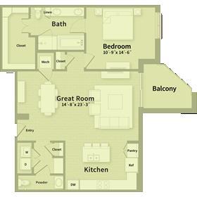 1,135 sq. ft. A3 floor plan