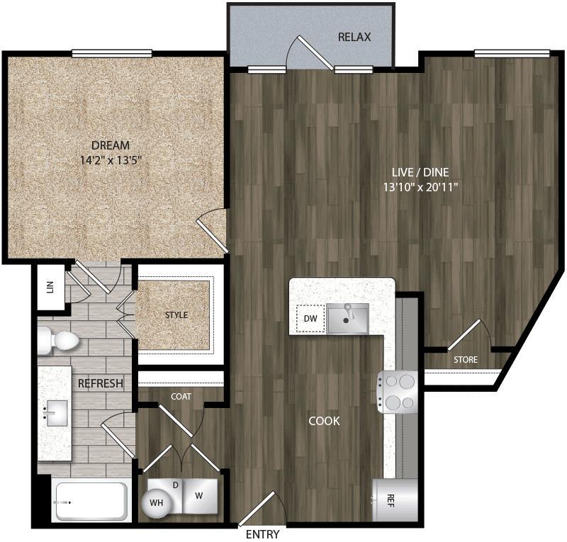 957 sq. ft. A10 floor plan