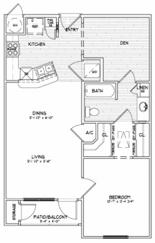 765 sq. ft. A2 SUN floor plan