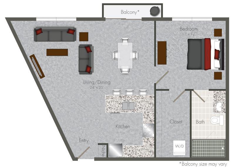 740 sq. ft. 1-X3 floor plan