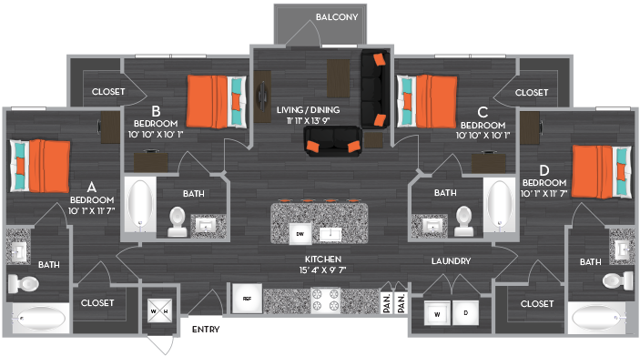 1,284 sq. ft. to 1,414 sq. ft. D2 floor plan