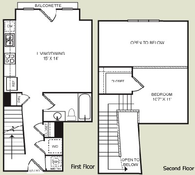 683 sq. ft. S1L floor plan