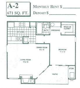 671 sq. ft. A2 floor plan
