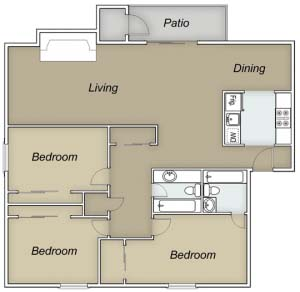 1,275 sq. ft. D/Cayman floor plan
