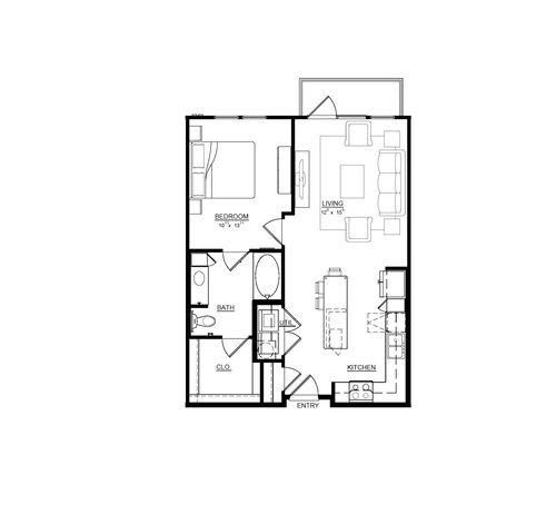743 sq. ft. Freesia floor plan