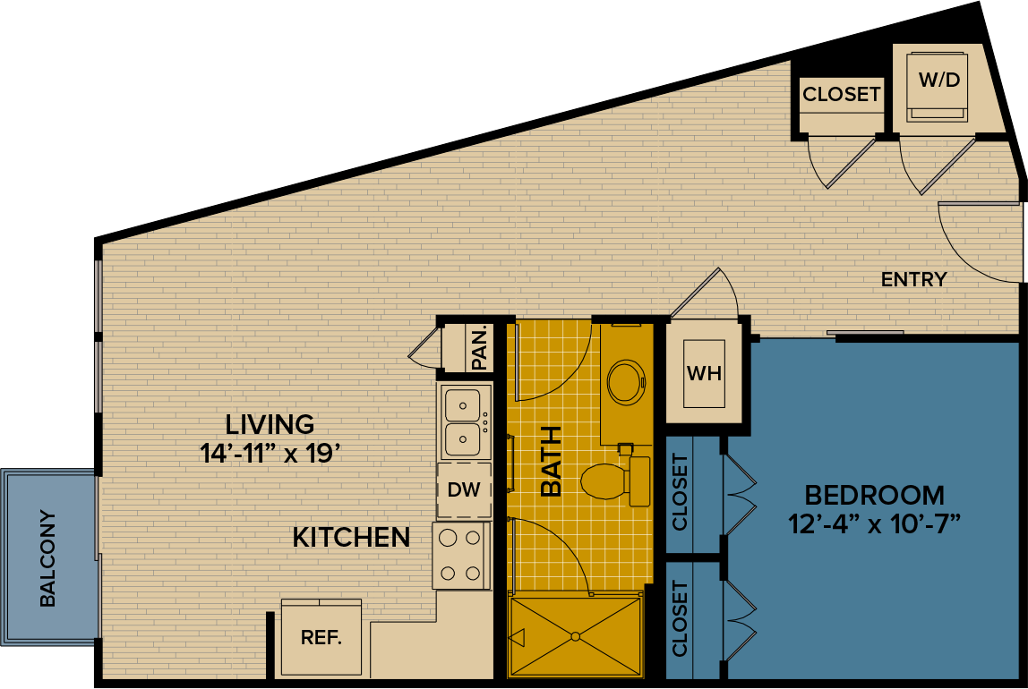 733 sq. ft. A10 floor plan