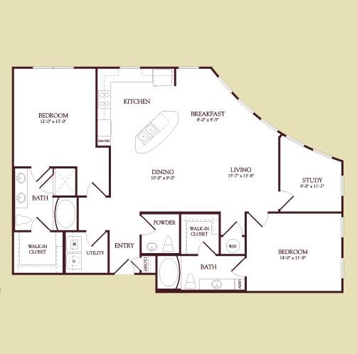 1,480 sq. ft. Van Gogh floor plan