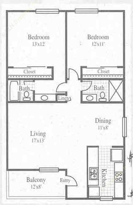 965 sq. ft. 2/2 floor plan