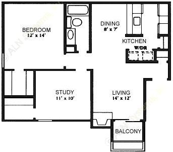 832 sq. ft. B-1 floor plan