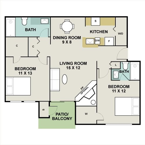 934 sq. ft. Ashwood floor plan