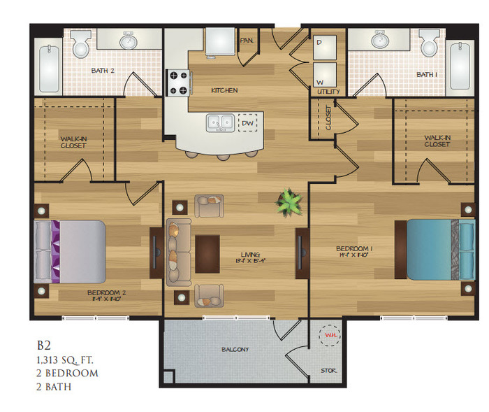 1,313 sq. ft. B2 floor plan
