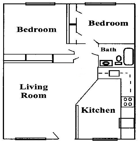 668 sq. ft. A1 floor plan