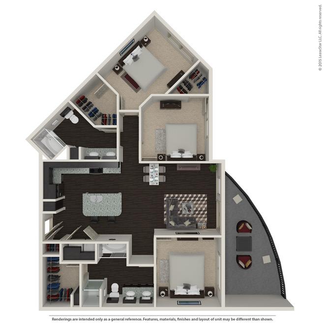 1,313 sq. ft. C1 floor plan