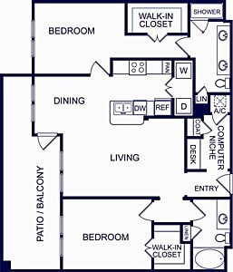 1,211 sq. ft. SEVILLE FOUR floor plan