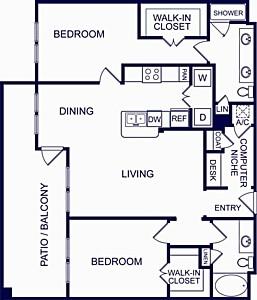 1,211 sq. ft. Seville Four floor plan
