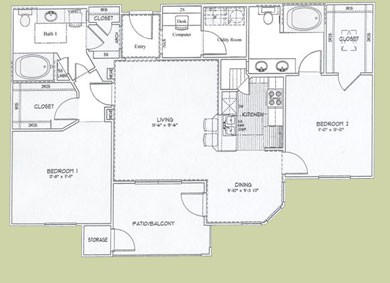 1,187 sq. ft. Barbados floor plan
