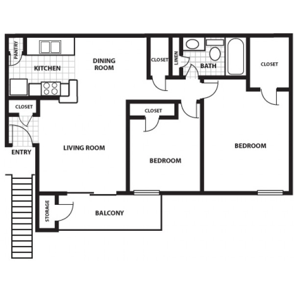 818 sq. ft. C floor plan