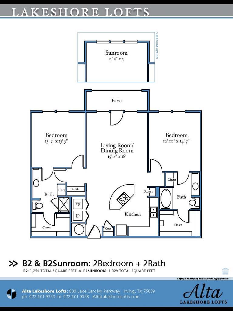 1,250 sq. ft. B2 floor plan