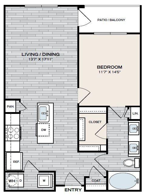 810 sq. ft. A3 floor plan