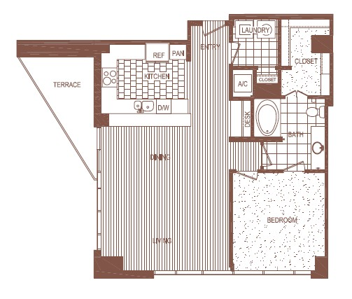 1,106 sq. ft. PH 4 floor plan