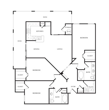 1,364 sq. ft. C1 floor plan