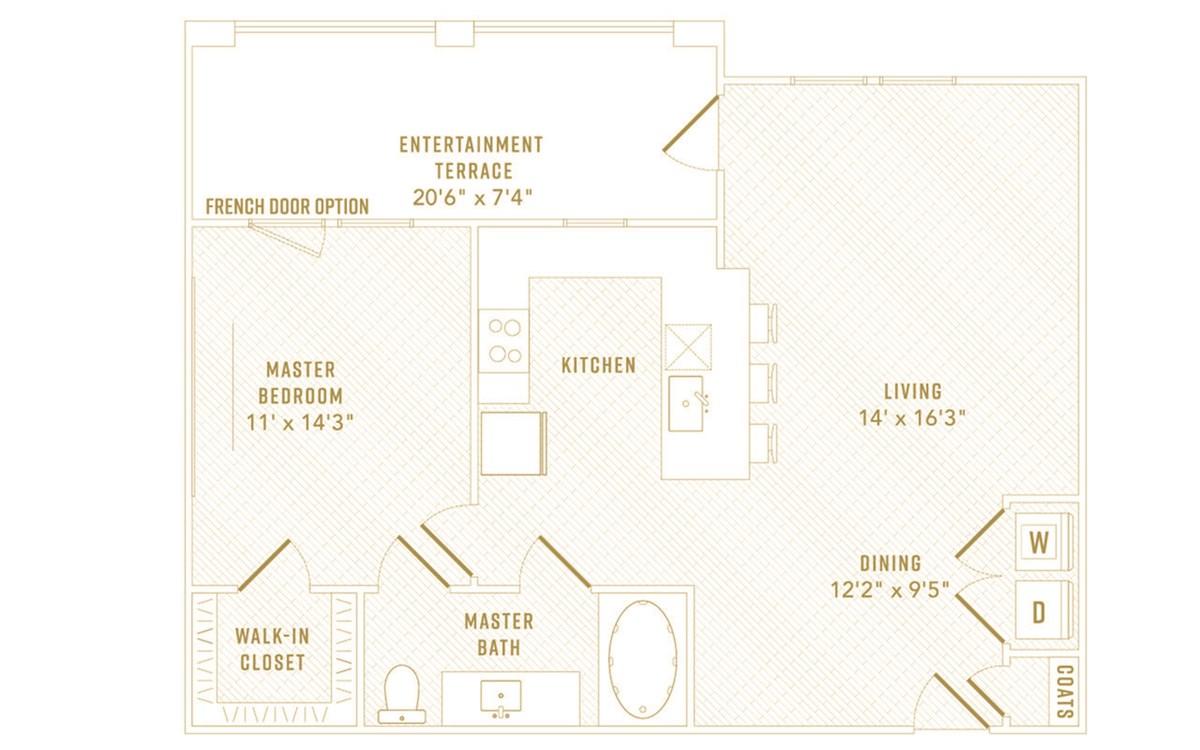 811 sq. ft. Glow floor plan