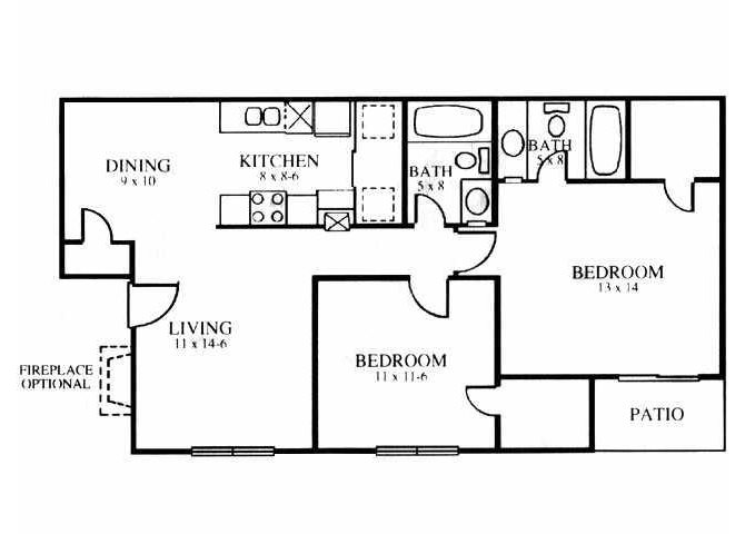 913 sq. ft. B floor plan