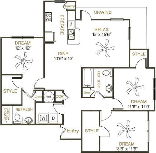 1,469 sq. ft. C1 floor plan