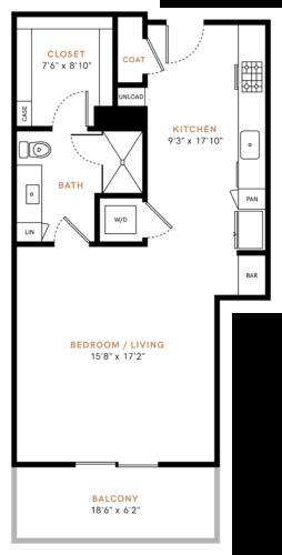 696 sq. ft. E2 floor plan